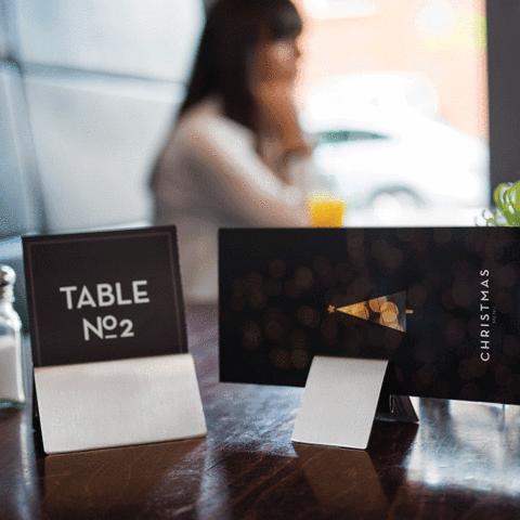 m-shaped menu holders