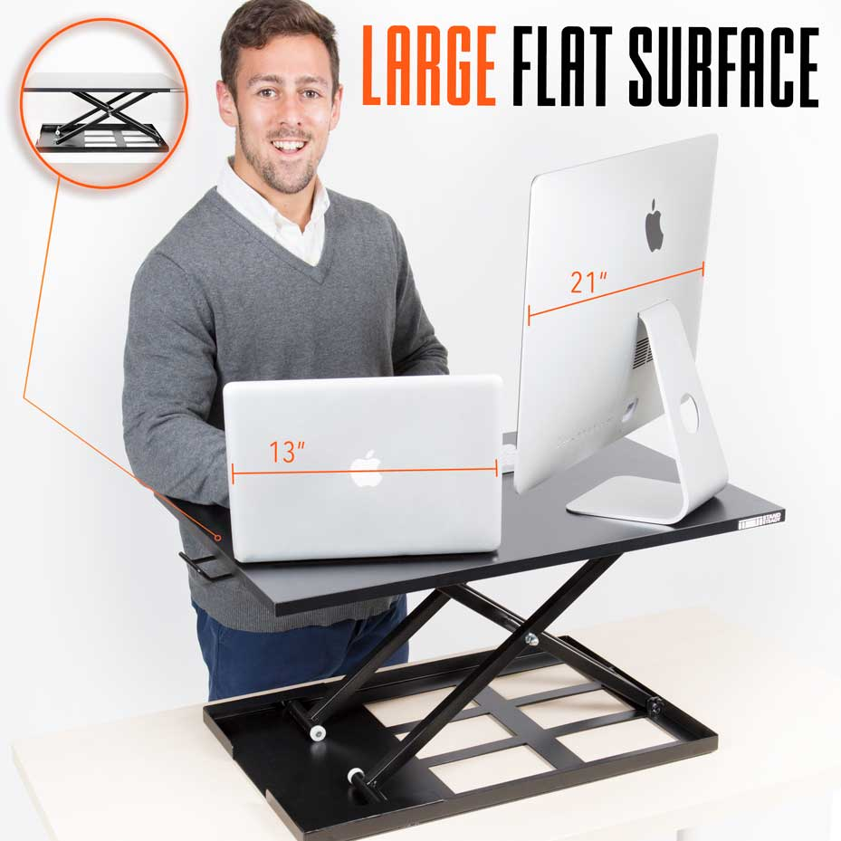 Stand up desk converter with Large Flat surface - x-elite pro
