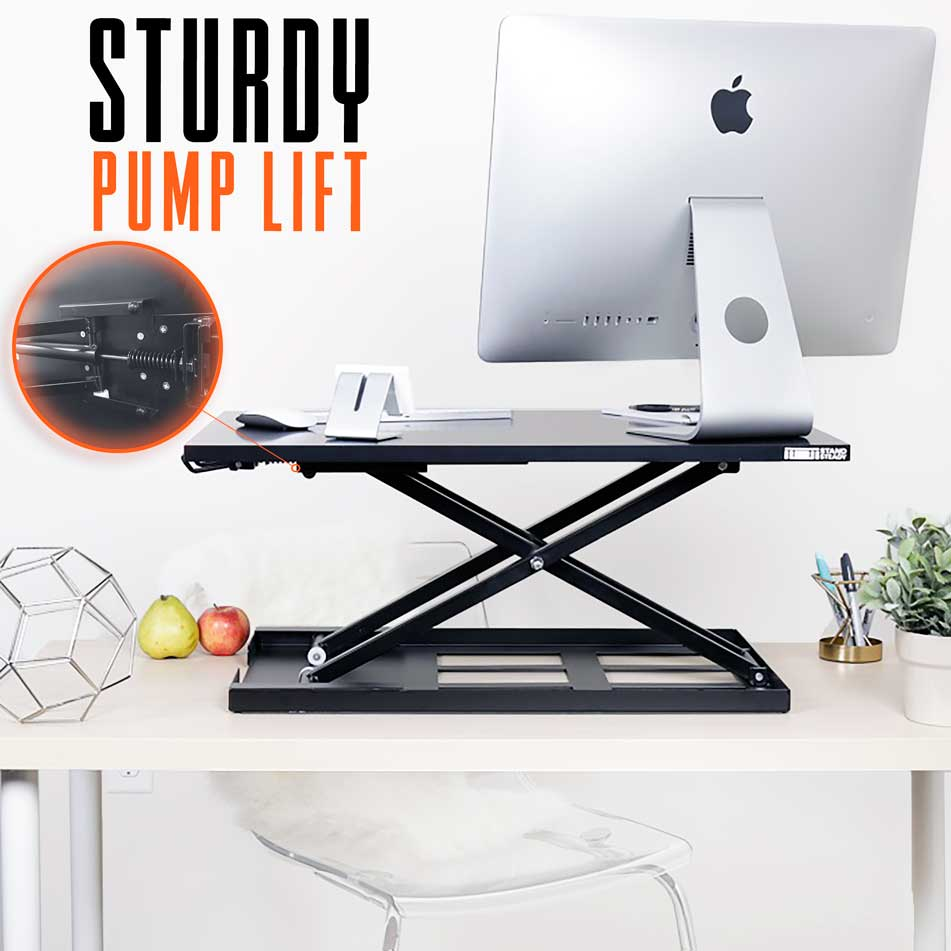 X-Elite Pro Cherry Standing Desk Sturdy Pump Lift