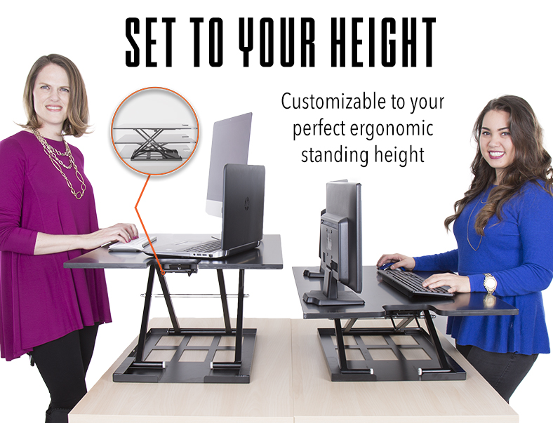 X-Elite XL Standing Desk Converter Set to Your Height