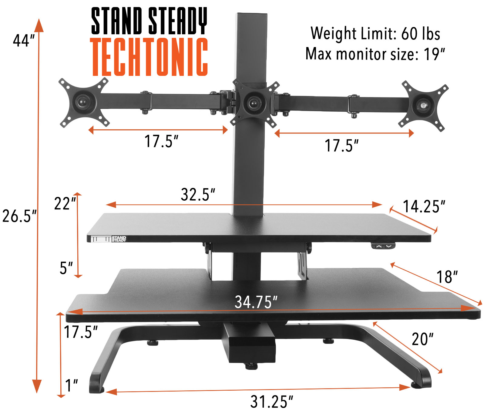 Stand Steady Techtonic 3 Monitor Mount Standing Desk