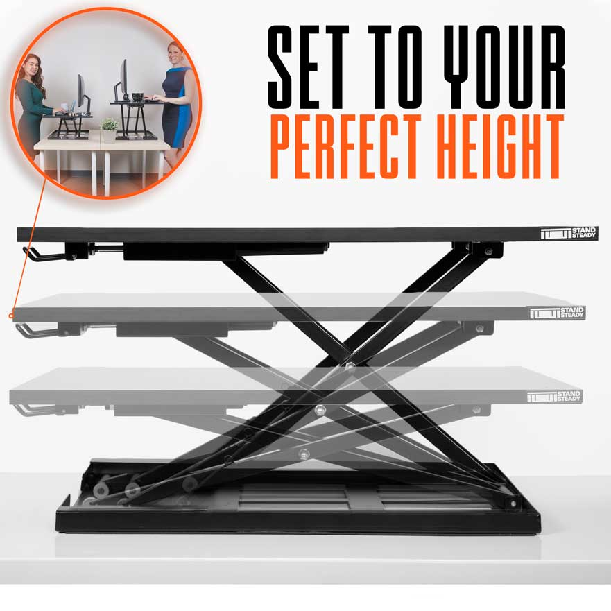 X-Elite Pro Sit Stand Desk Converter - Set to Your Perfect Height