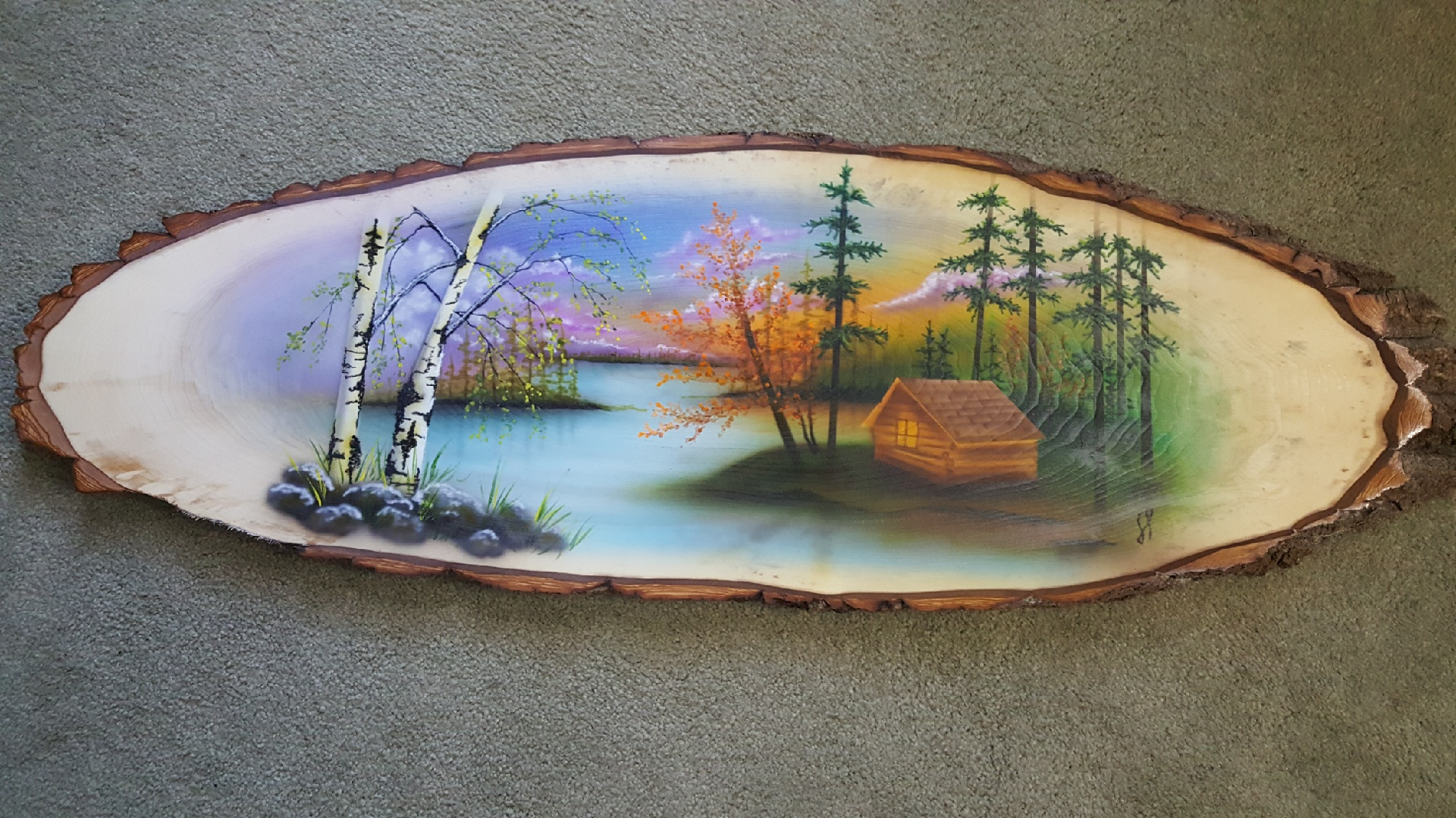 Bark-On Oval Wood Slice