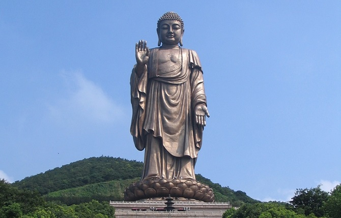 Chinese Buddhist art: giant Buddha statue, Lingshan Giant Buddha