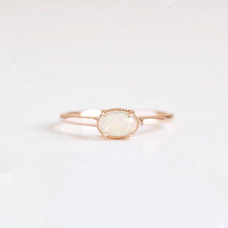 Pearl opal engagement ring
