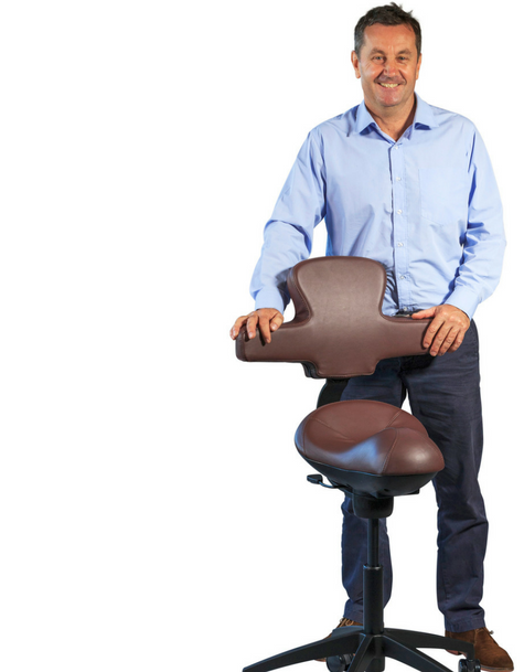 David France Chiropractor and Workhorse Saddle Chair Pro