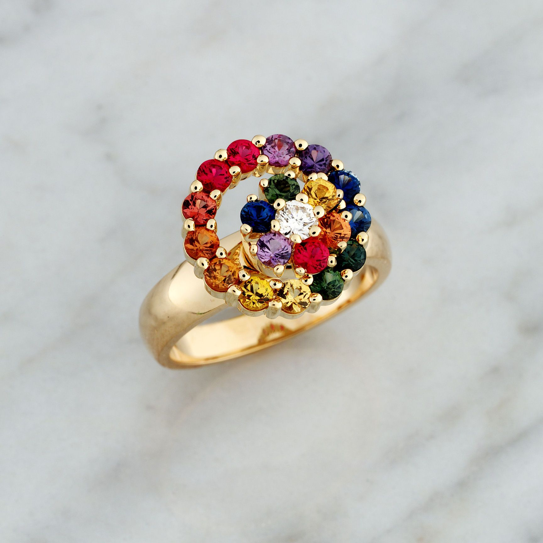 Teufel Yellow Gold Rainbow Cluster Spinner Ring