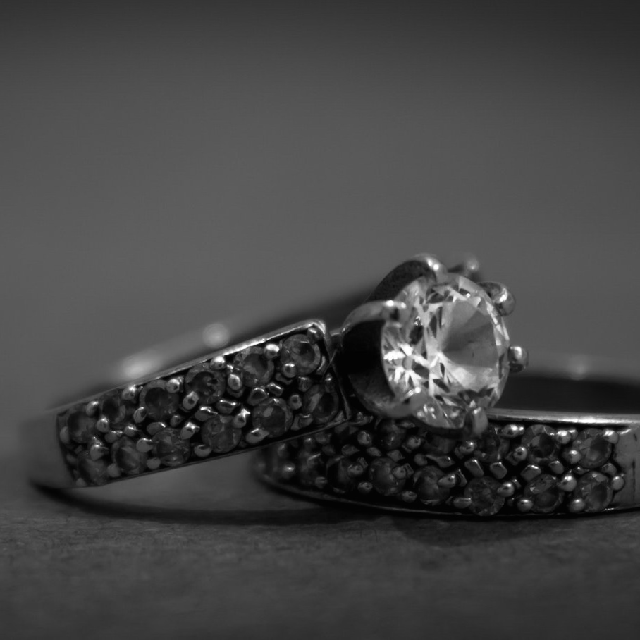 Black and White Engagement Ring Set