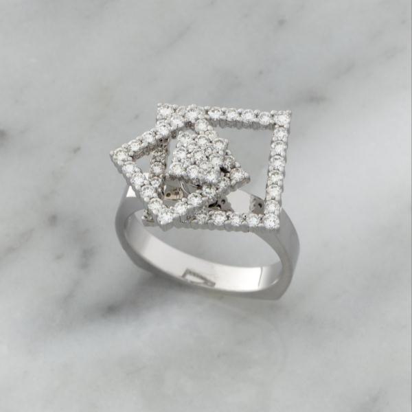 White Gold Double Diamond Square Spinner Ring