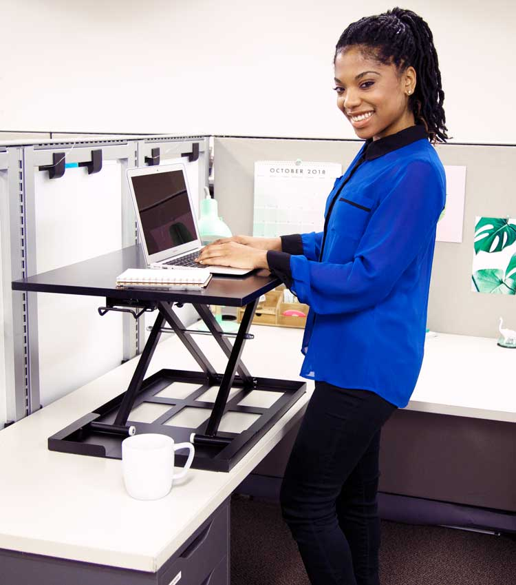 X-Elite Pro Standing Desk Converter in Cubicle