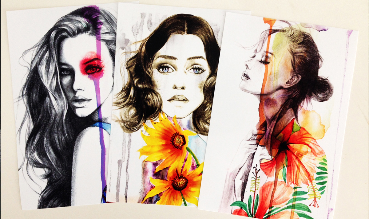 watercolor fashion portrait by Rongrong DeVoe