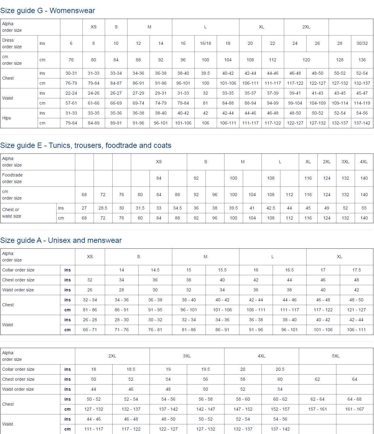 Size Guide A - Unisex & Menswear