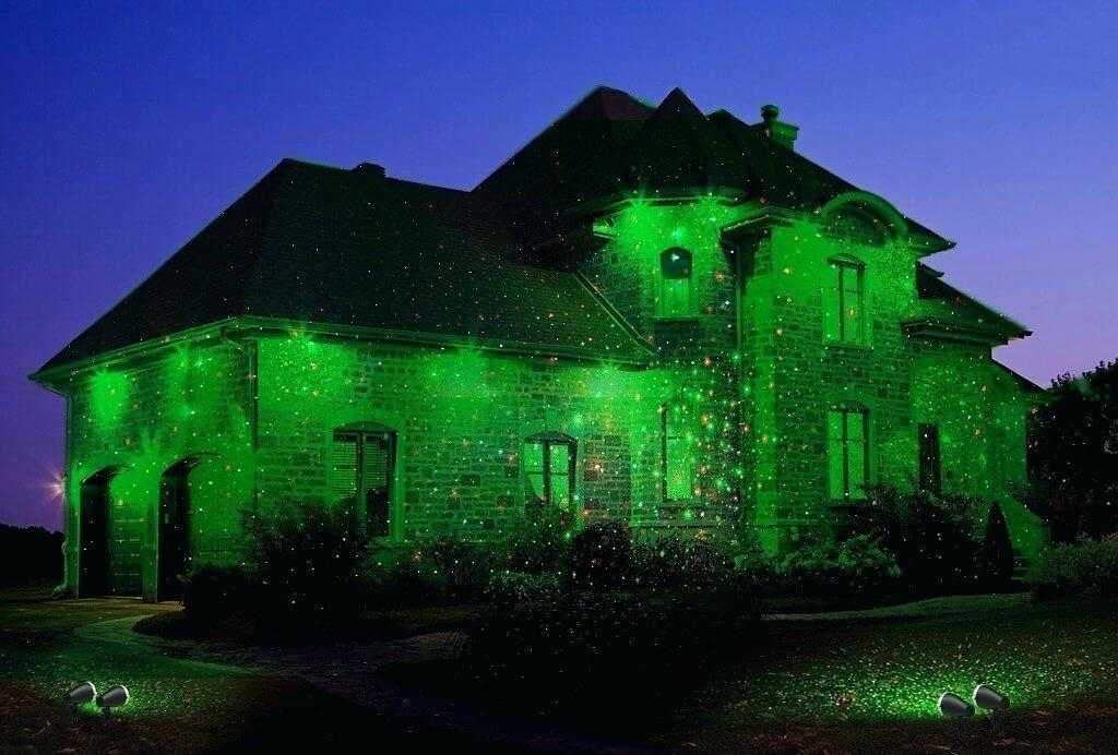 Green Christmas Laser Light Projector On House