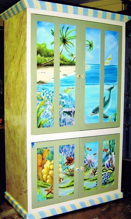 tropical painted furniture patio complete with tropical view above and under the water complemented an elegant faux finish along side hand painted furniture lisa sparling art
