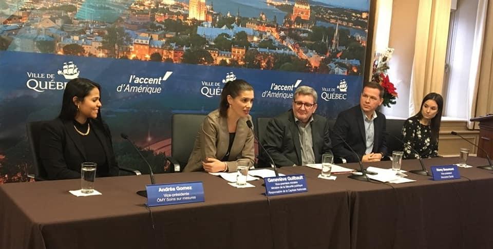 Andréa Gomez, Geneviève Guilbault, Régis Labeaume et Elizabeth Coulombe