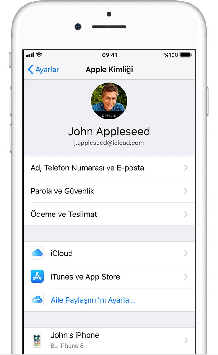 Apple iPhone iCloud Kimlik Adı