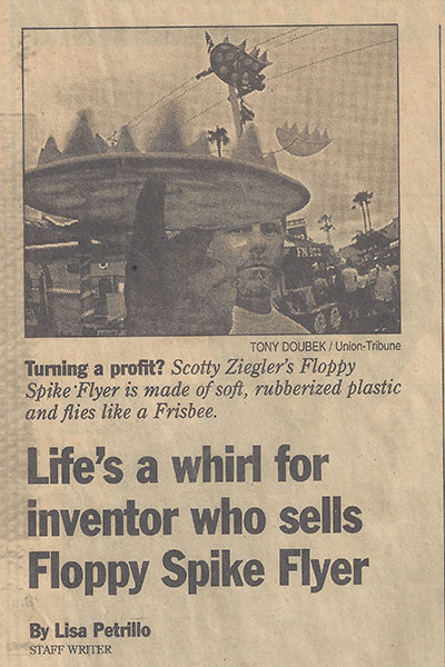 Old news article clipping of Floppy Spike flying disc inventor Scotty Ziegler showing original Frisbee-like product.