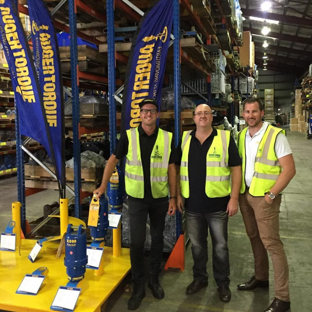 Attachment Warehouse Founder Mick Watkins with the guys at Auger Torque Brisbane