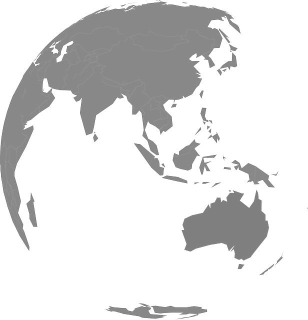 australia and asia map