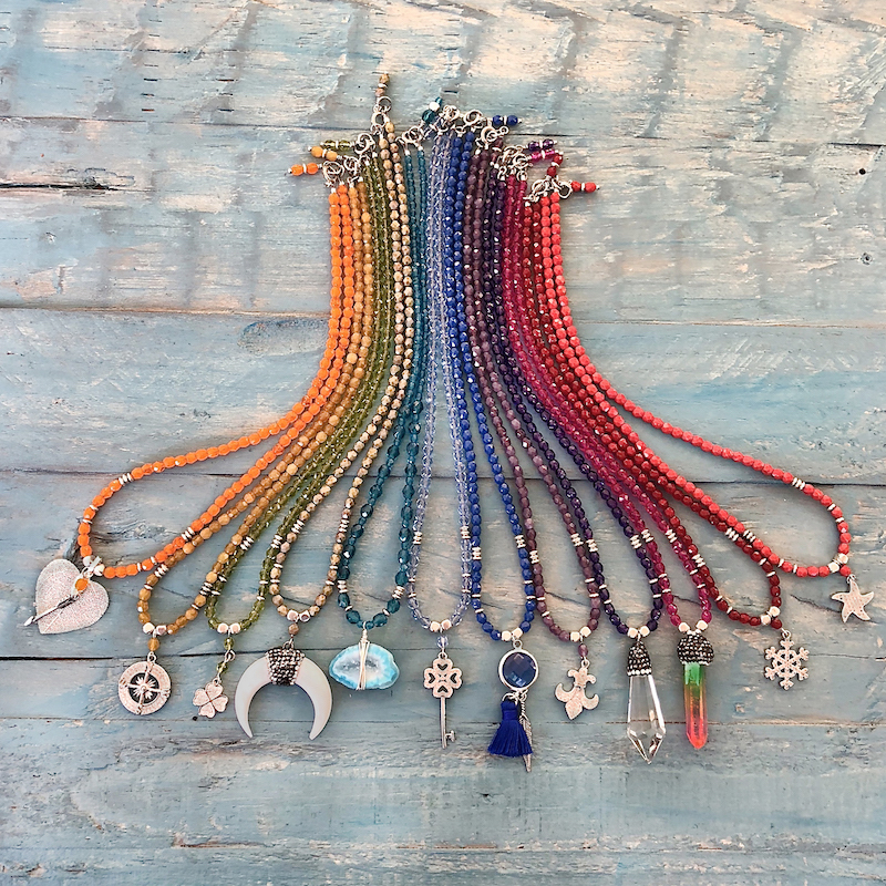 Czech Glass Beaded Necklaces Boho Beaded Necklaces Copper Ceramic Pendant Necklaces Handmade Knotted Necklaces