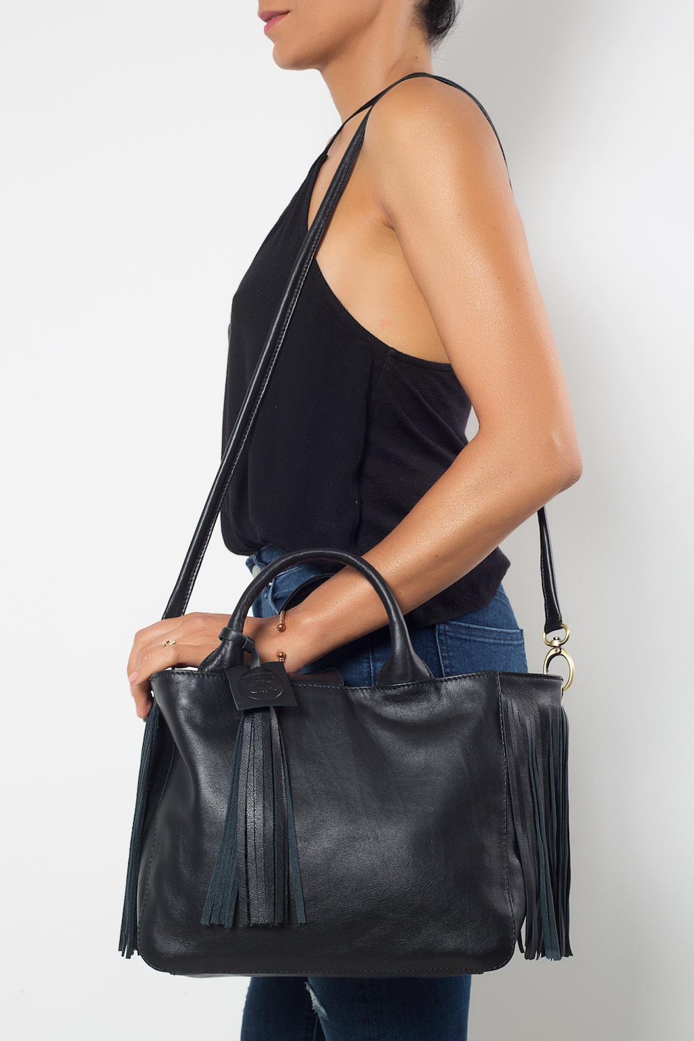 black leather bag, French brand