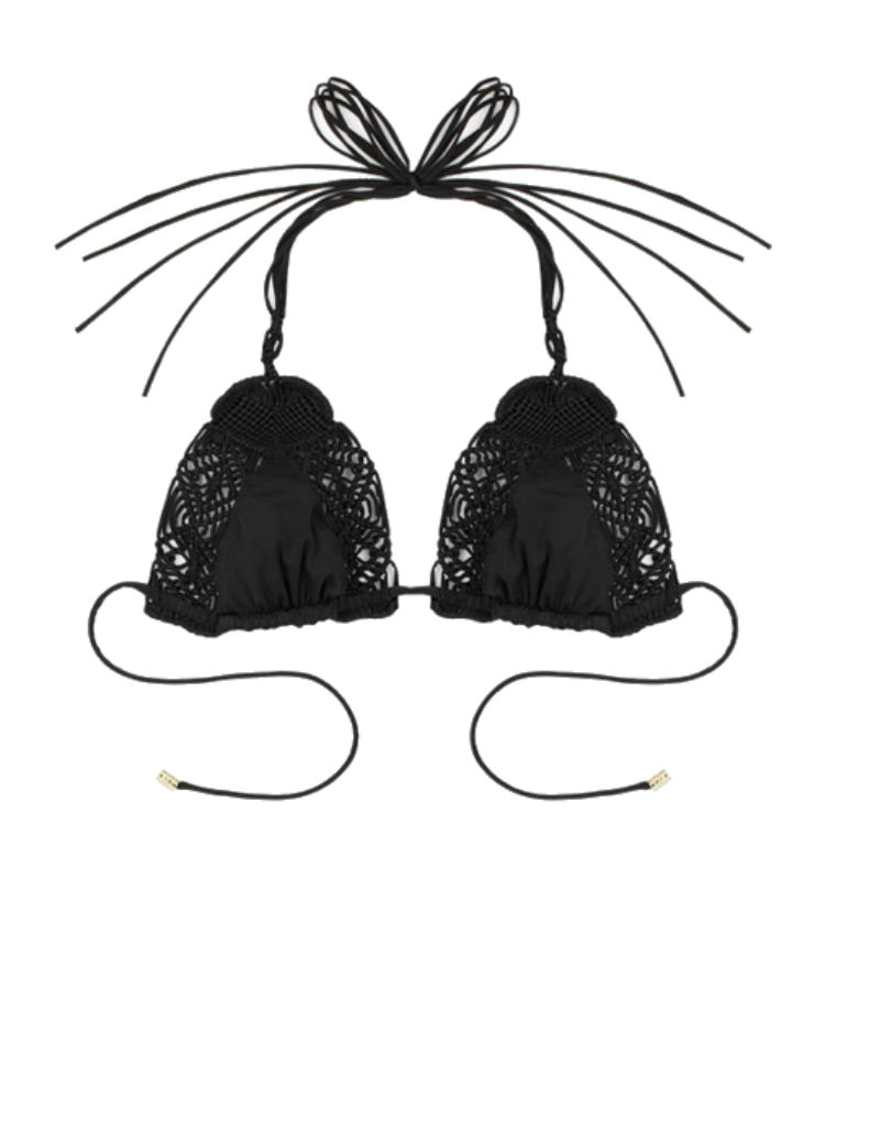 Beach Bunny Dakota String Bikini top in black
