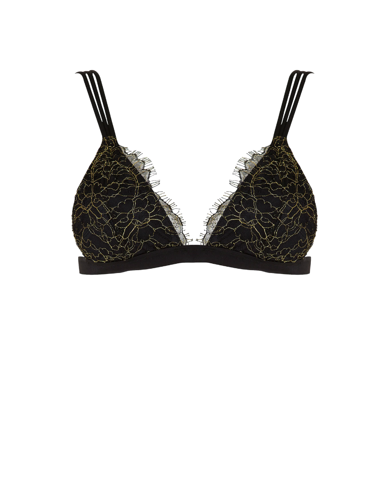 Beach Bunny Madagascar Bralette top in black and gold lace