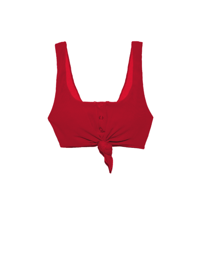Beach Bunny Rib Tide Knotted Red crop bikini top