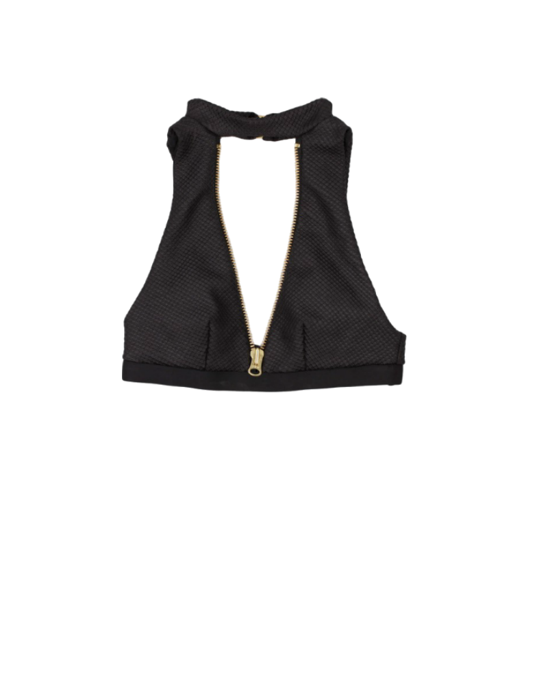 Beach Bunny Zoey high neck bikini top with zip in black