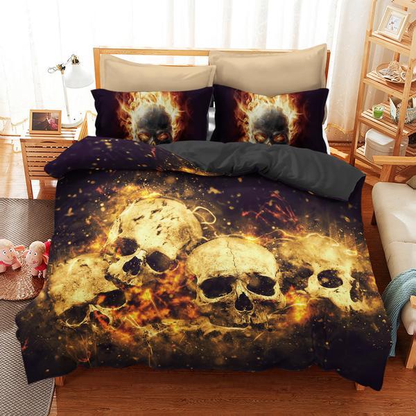 skull on fire bedding