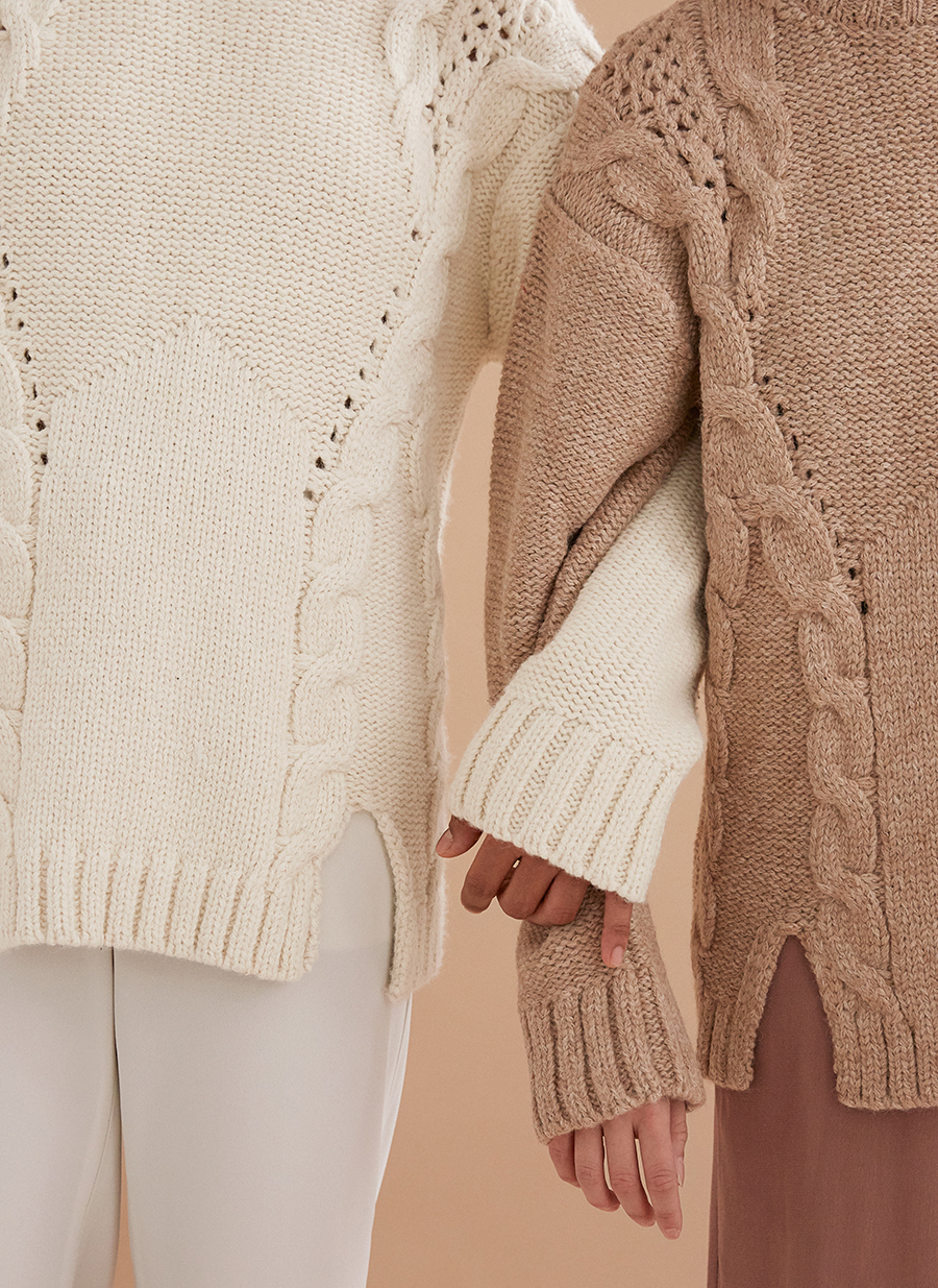 Cableknit bienville sweaters in soft tan and ivory by