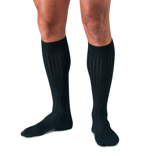 Black Merino Wool Over the Calf Dress Socks