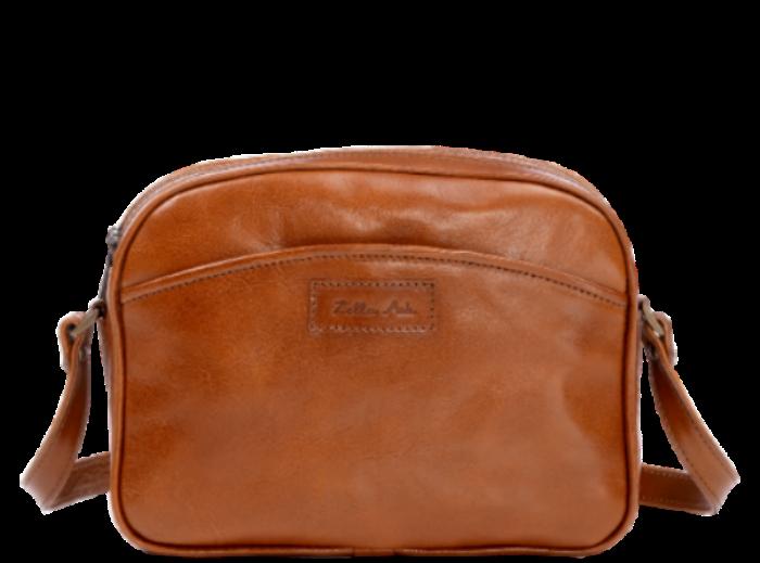 Zella Ash - Lexia, Tan Brown Leather Cross-body Bag