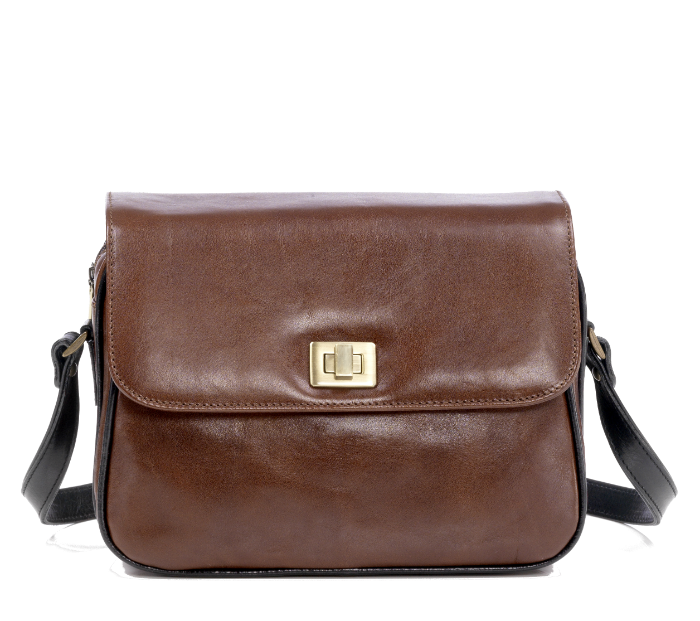 Zella Ash- Beatrix, Black & Brown Leather Cross-body Bag