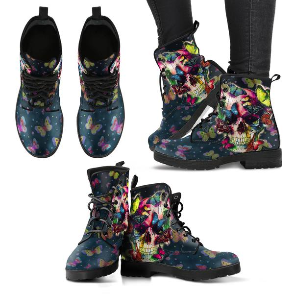 Skull and Butterfly Boots