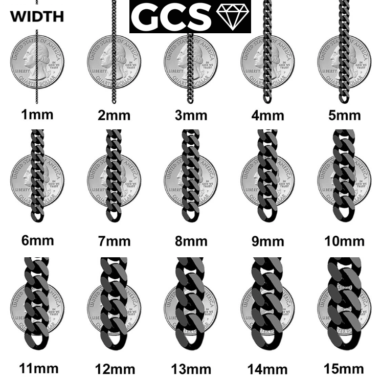 Gold chain or bracelet link width chart