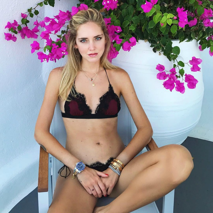 Fashion and Digital Influencer Chiara Ferragni in Oseree Swimwear