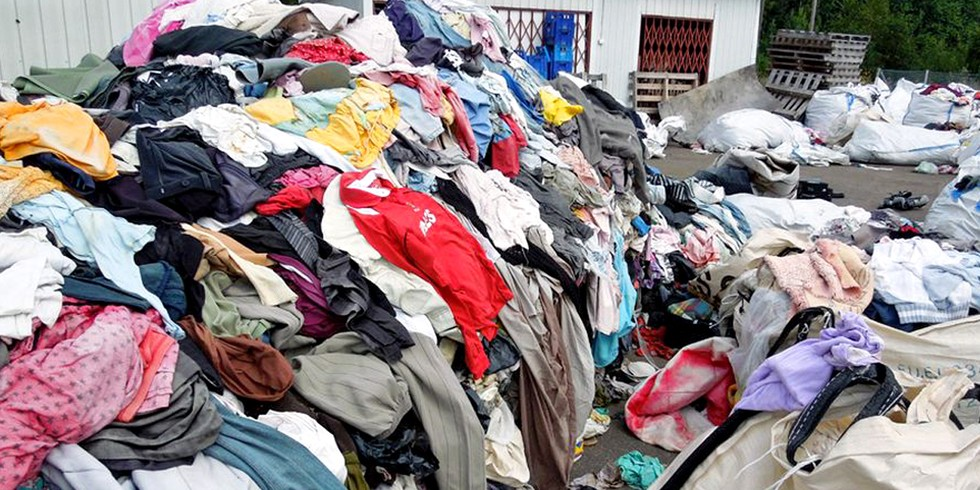 Piles of wasted clothes