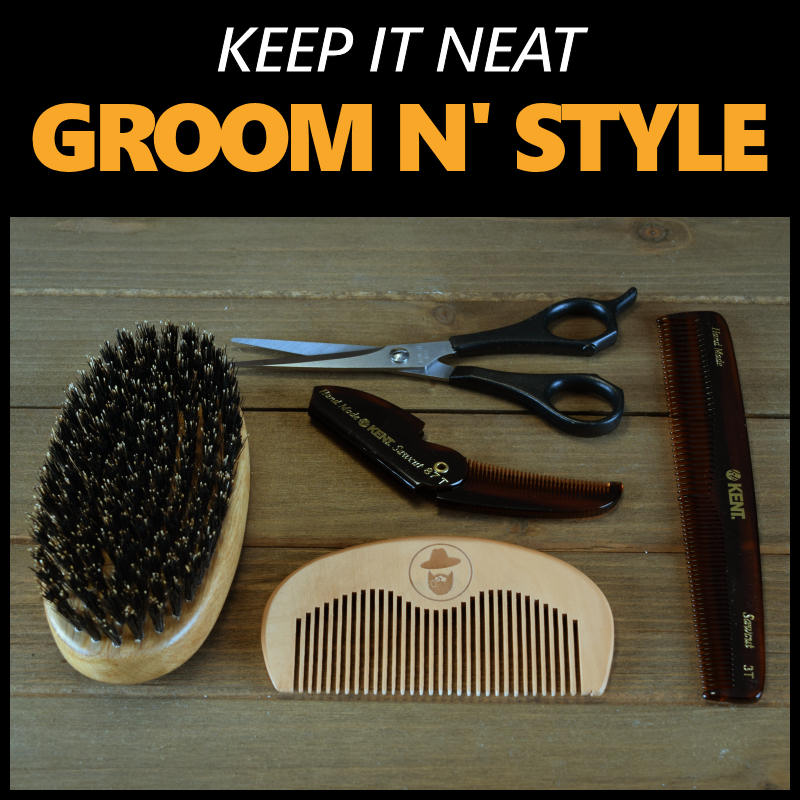 beard grooming products - brush, combs, scissors, wax, pomade