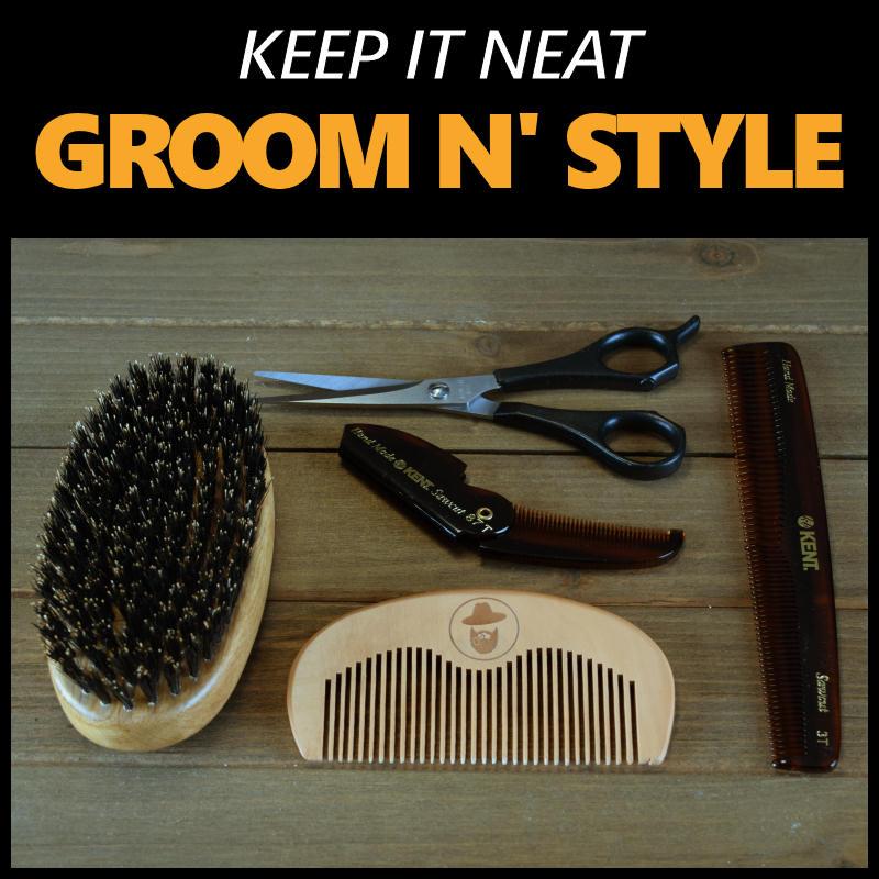 beard grooming products - brush, combs, scissors, wax, pomade
