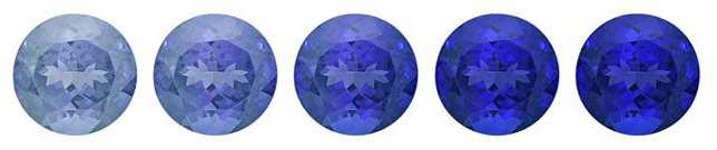 An example blue sapphire with varying saturation of colour.