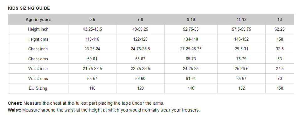 Craghoppers Kid's Size Guide