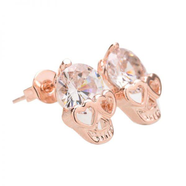crystal skull stud earring