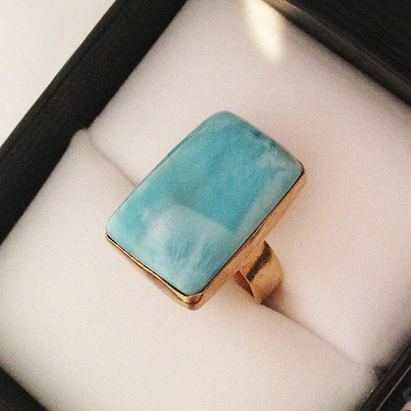 Custom made Larimad and gold filled ring