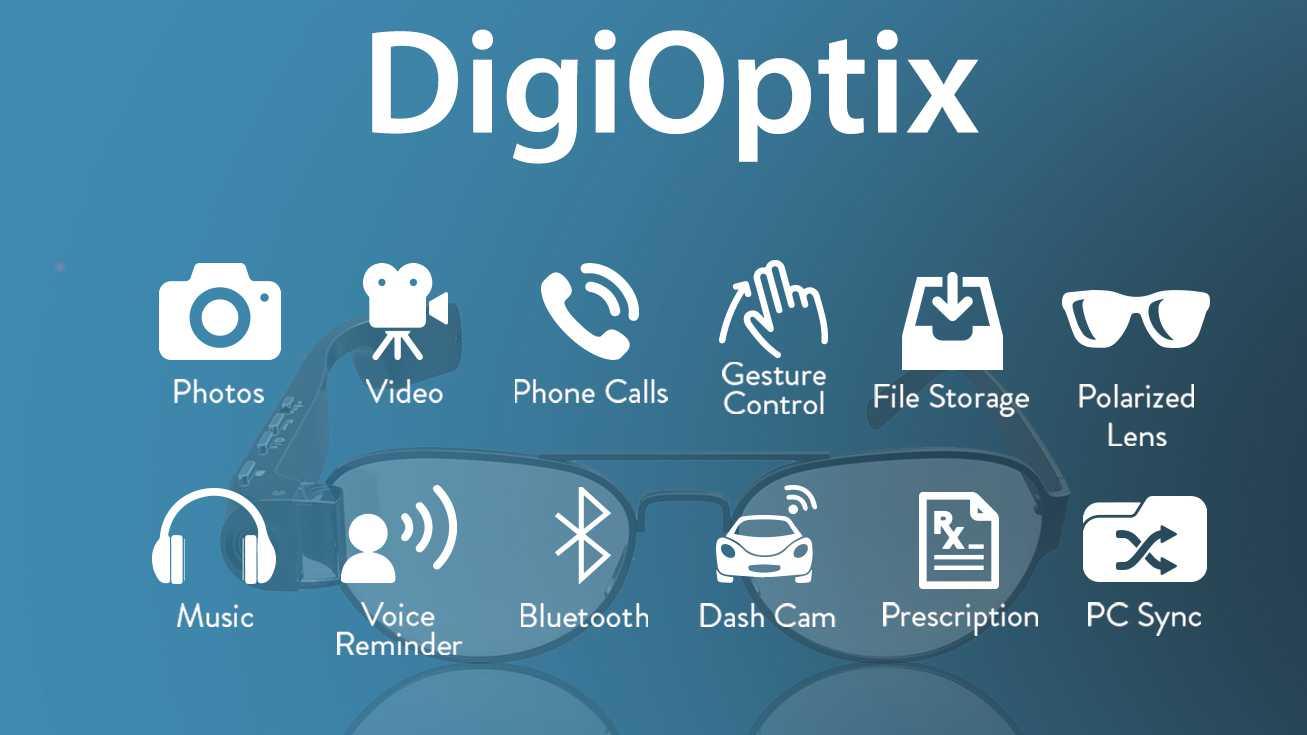 DigiOptix Smart Glasses: Photos, video, phone calls, gesture control, file storage, polarized lens, music, voice reminder, Bluetooth, dash cam, prescription friendly, PC sync