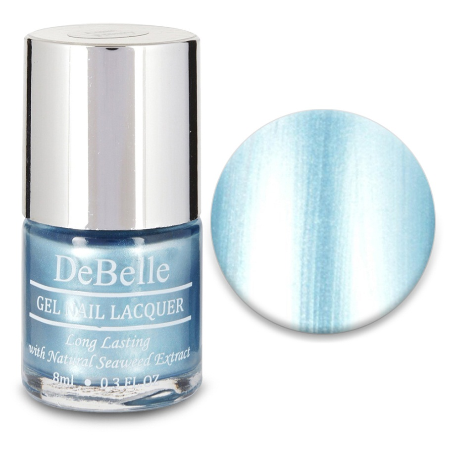 DeBelle Gel Nail Lacquer Aqua Frenzy (Chrome Blue Nail Polish)