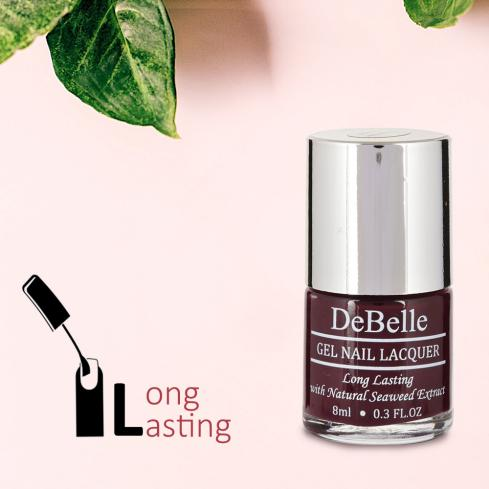 DeBelle Gel Nail Lacquer Glamorous Garnet (Dark Maroon Nail Polish)