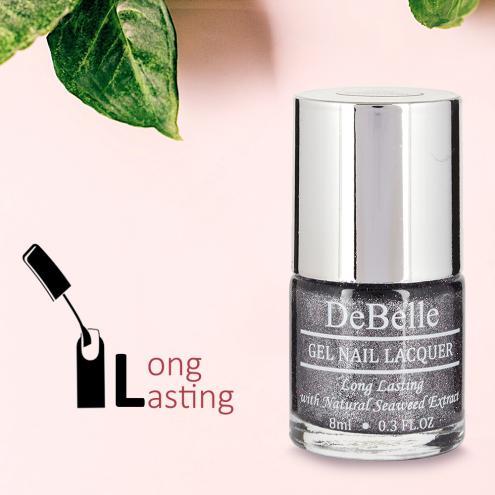 DeBelle Gel Nail Lacquer Grey Glitteratti (Silver Glitter Nail Polish)