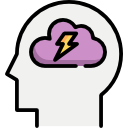 Head with Cloud and Lightning bold in brain Icon for Anxiety