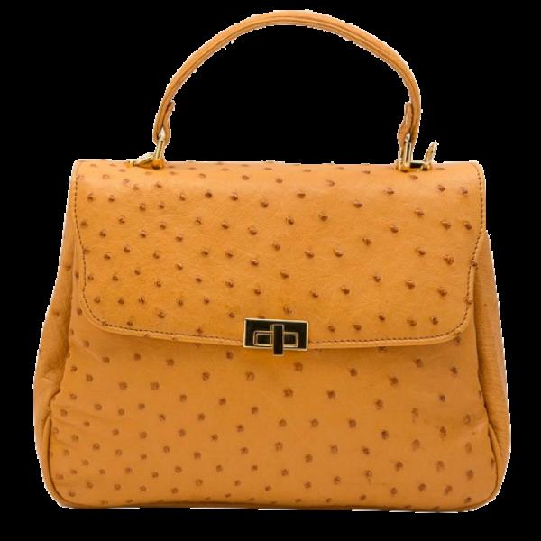 Zella Ash - Diana, Yellow Ostrich Leather Handbag